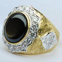 แหวนพลอย Black Star 7.77กะรัต ฝังเพชรรวม 1.38กะรัต แกะลาย