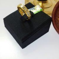 แหวน ชุบทองคำขาวตัดลาย3ห่วง